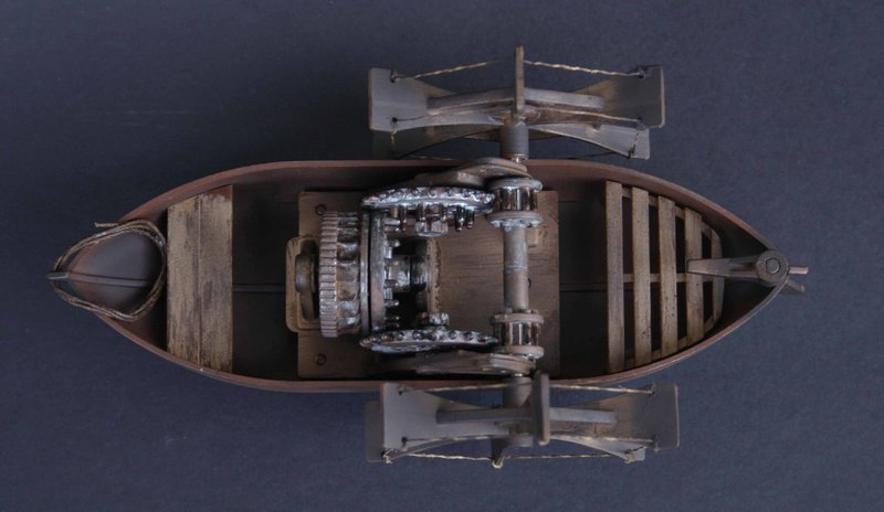 лодка с гребным колесом леонардо да винчи